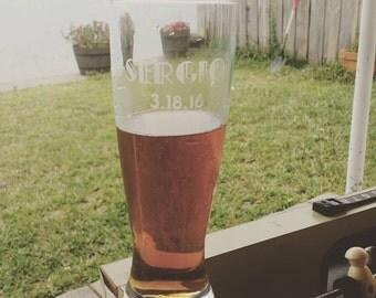 Groomsmen gift, etch beer glass