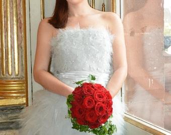 Wedding dress, short, light grey, model unique.