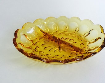Vintage Amber Yellow Divided Glass Dish