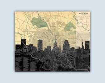 Baltimore Maryland Art, Baltimore Skyline, Baltimore Art Print, Baltimore Decor, Personalized Skyline Print, Baltimore Poster, Baltimore Map