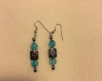 Light blue dangle beaded earrings