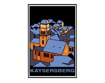 Carte postale - Kayzersberg, Alsace, carte de voeux, papeterie décorative, carte vintage, carte rétro