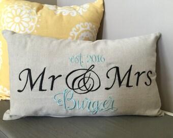 Custom Mr & Mrs Pillow Cover
