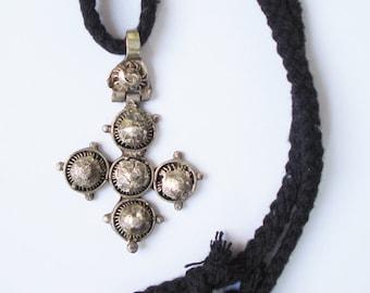 Antique Silver Ethiopian Gurage Cross Pendant. Coptic Christian, Solomonic. Africa Tribal Ethnic.