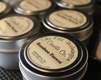 4 oz 100% pure soy candle travel tin, personalized wedding favors