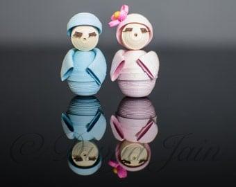 Miniature Couple - Handmade Quilling & Papercraft