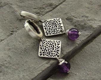 Sterling silver and amethyst earrings/oxidized silver