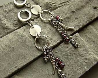 Sterling silver garnet and pyrite - long earrings/oxidized silver