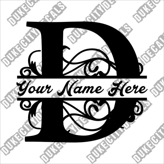 letter d floral initial monogram family name vinyl decal
