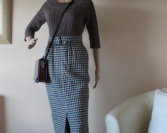 Woollen Skirt 100% Size 8UK, Womens Clothing Skirt, Next Label Split & Buckle Side Pockets, Fully Lined Made in Belgium Trending Mod Skirt