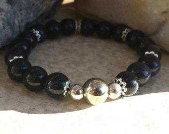 Large Dark Blue Sandstone Stretch Bracelet