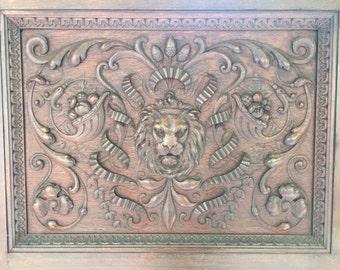Set of Two Large Original Hand-carved Oak Panels from Vanderbilt Mansion