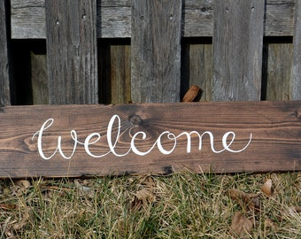 Welcome Wooden Rustic Sign