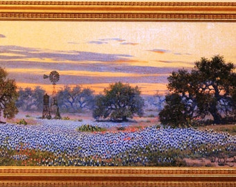 W.A. Slaughter Original Painting, Signed, Oil On Canvas, Framed: 15x27 Texas Bluebonnets