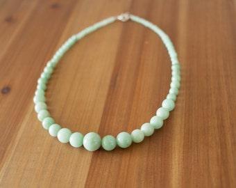 Light Mint Green Jade Necklace, Graduated Beaded Necklace, Simple Beaded Necklace, Natural Stone Necklace, Chic Elegant Necklace