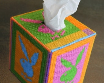 Tapestry Playboy Tissue Box - Unique OOAK - Retro Design