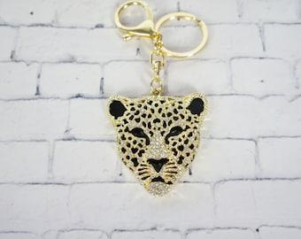 Leopard keychain, bling bling, crystal charm, keychain with rhinestone