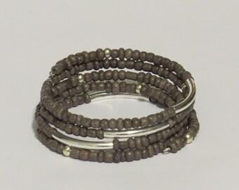 E-1688 Gray and Silver wraparound beaded cuff bracelet