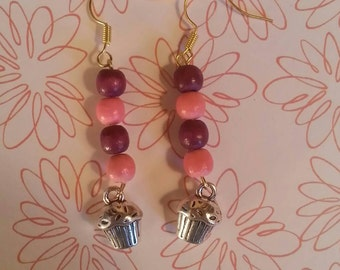 6mm Wooden Beads and Cupcake Charm Earrings