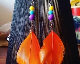 Sale! Orange feather earrings