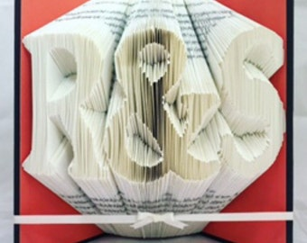 Wedding present folded book art. Anniversary gift engagement present.