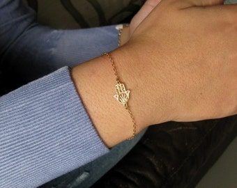 Hamsa bracelet, hamsa charm bracelet, evil eye bracelet, gold bracelet, hamsa, sideways hamsa, protection hamsa, bridesmaid gift
