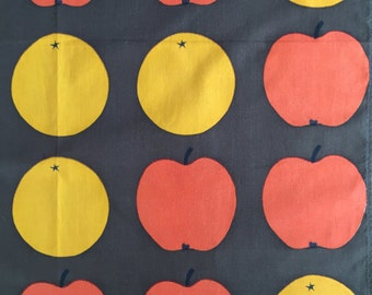 Retro curtain with apples and oranges