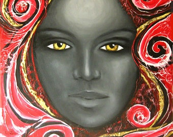 """Oilpainting on canvas, 60x60cm,""""the  lady with the goldy eyes"""""""