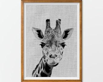 Giraffe Print Poster Animal Wall Art, Animal Print Black and White Printable Art