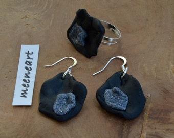 """Fantasy black grey"" ring jewelry set"