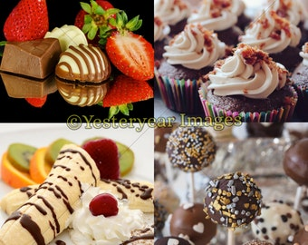 CHOCOLATE SWEETS Photos - Digital Images Collage Sheets - Instant Download - 3 PNG Files 4x4 - 2x2 - 1x1