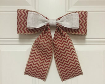 Red Chevron and White Bow