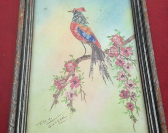Bird art made from vintage stamps