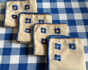 Small Cotton Napkins with Navy Blue & Yellow Embroidered Flowers and Border - Set of 4 - Afternoon Tea
