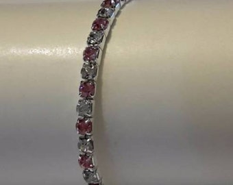 Silver Plated Bangle With Pink CZ Crystals