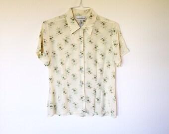 vintage 100% silk shirt tunic blouse button down shirt