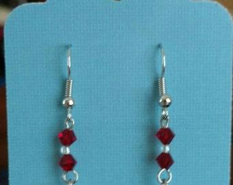Swarovski Crystal & Rose Quartz Dangle Earrings