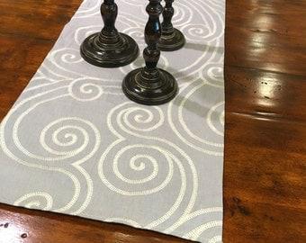Reversible Gray-blue table runner/scarf