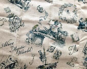 1/2 Yard Beautiful Alice In Wonderland Nostalgic Print Fabric Cotton Linen BLUE