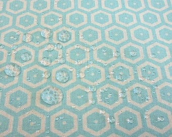 cotton fabric coated waterproof japanese Kikko honeycomb turquoise from France