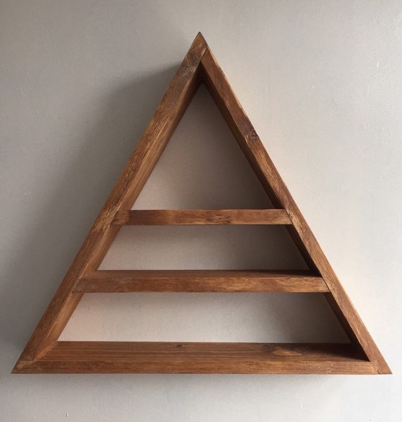 Triangle shelf display shelf crystals gems by lovelifewood on etsy - Triangular bookshelf ...