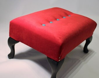 Red Velvet , Queen Anne style footstool, hand made with solid beech frame and legs