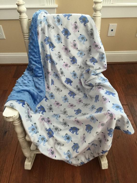Elephant Baby Blanket Minky Baby Blanket Soft Baby Blanket