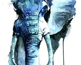 """ORIGINAL Elephant Watercolor Painting - 11"""" x 14"""" (27.9cm x 35.6cm)"""