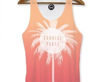 Sunrise Party Summer Vest Mens Tropical Palm Holiday Singlet Sleeveless Tank PP104