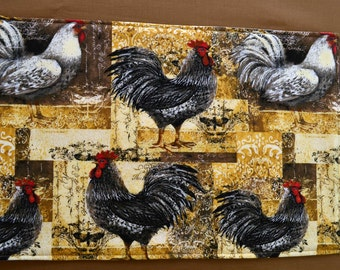 Set of 6 placemats & 2 pot holders, reversible placemats, rooster placemats, linens,cloth placemats, gift, gift, birthday gift