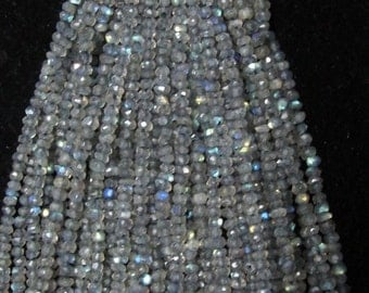 "100% Natural Labradorite Faceted Round Shape Beads Size Approx 2X3MMApprox 13.5""Inch"