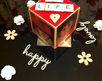 Wood cube photo transfer