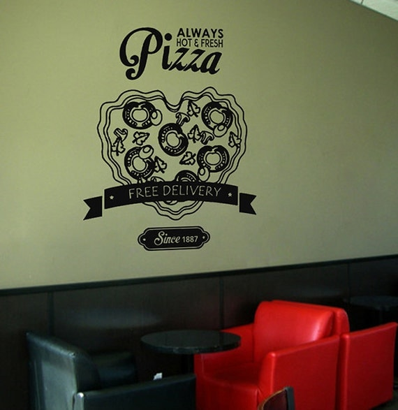 Kik wall decal sticker pizza heart delivery italian