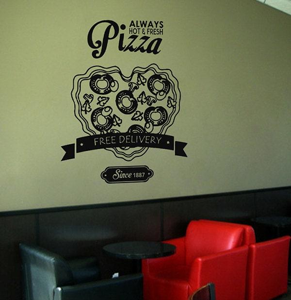Restaurant Wall Decor Supplies : Kik wall decal sticker pizza heart delivery italian